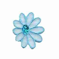 Small Sparkle Light Blue Daisy Iron on Floral Applique