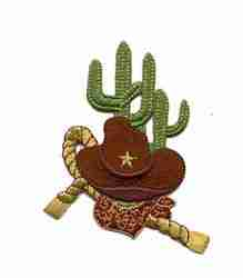 Hat/Cactus Iron On Western Patch Applique