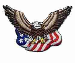 Eagle with American Flag Iron On Patch Applique