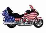 American Flag Bike Iron On Applique