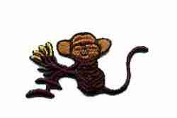 Monkey Sitting with Bananas Iron On Animal Patch Applique