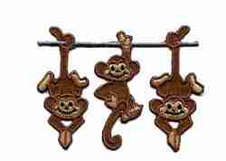 Monkey - Embroidered Hanging Monkeys Iron On Animal Patch Appliq
