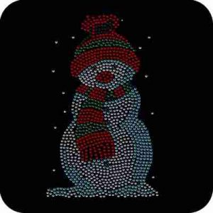 Christmas - Cute Rhinestud Snowman Iron On Holiday Applique