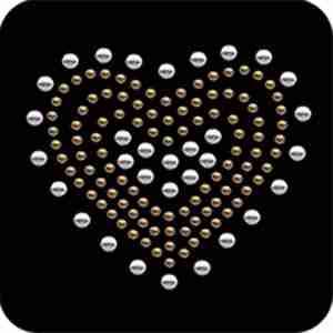 """Hearts - Silver & Gold Nailhead 2¼""""H Heart Iron Applique"""