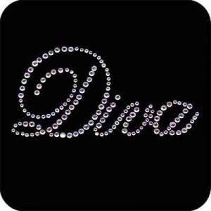 """Diva"" script in clear Rhinestones Iron on Applique"