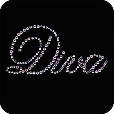 """""""Diva"""" script in clear Rhinestones Iron on Applique"""