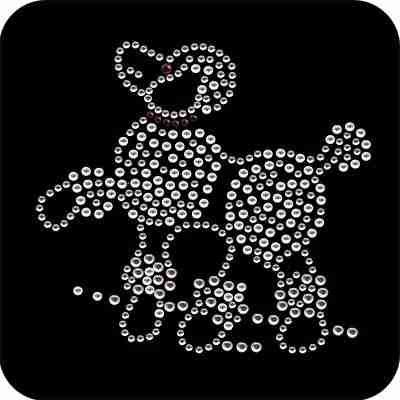 Dogs - Poodle in Clear Rhinestones Applique
