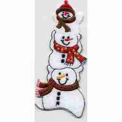 Christmas - Three Snowman Stack Iron On Holiday Patch