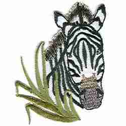 Zebra - Curious in Grass Iron On Embroidered Animal Applique