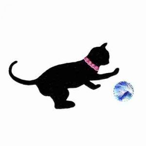 Cats - Silhouette Playful Black Cat Iron On Patch Applique -Yarn patch sold separately