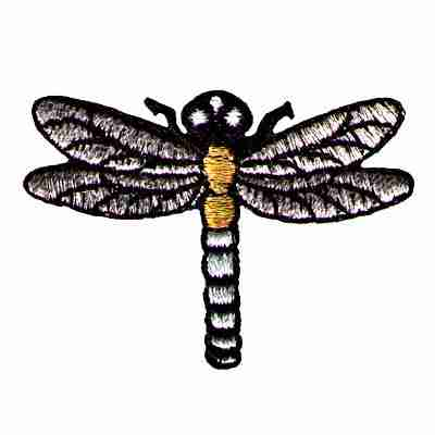 Dragonflies - Silver and Gold Metallic dragonfly iron on patch a