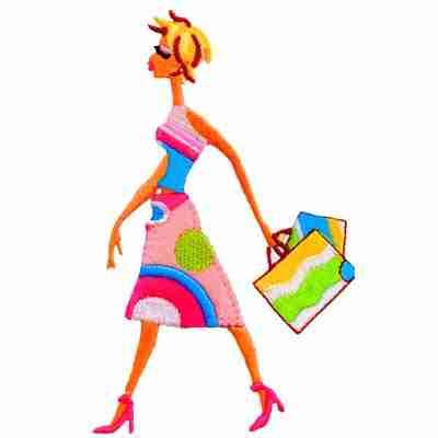60's Retro Lady Shopping Iron On Applique