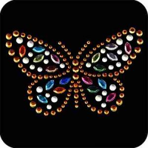 Butterflies - Golden Multi-colored Butterfly Iron On Rhinestud A