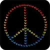 "Peace - Medium Rhinestud 3"" Peace Sign Iron On Applique"