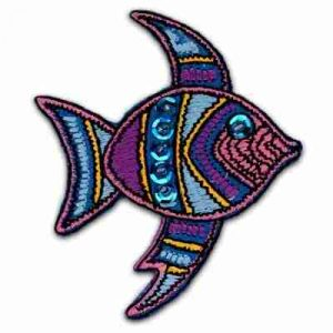 Purple Sequined Fish Iron On Sealife Patch Applique
