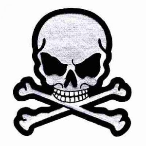 Jumbo Skull & Crossbones Iron On Jacket Patches