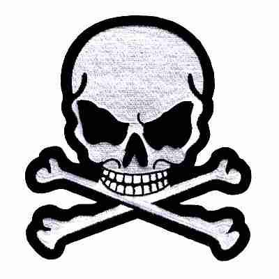Jumbo Skull & Crossbones Iron On Jacket Patches