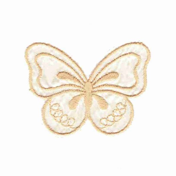 Butterflies - Tan and White Butterfly Applique Vintage Patch