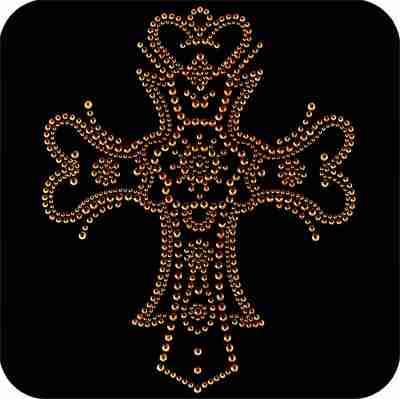 Crosses - Gold Gothic Cross Rhinestuds Iron On Religious Appliqu