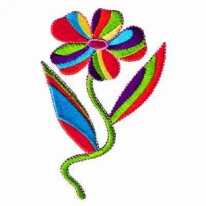 60's Multi-Colored Flower with Stem Iron On Applique