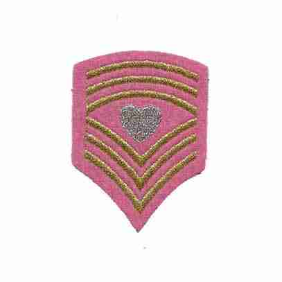 Sergeant Heart Chevron Iron On Patch Applique in PINK