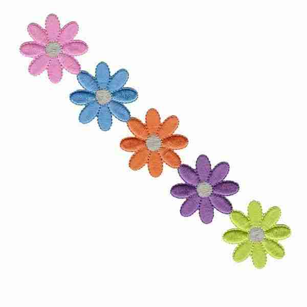 Large Colorful Daisy Strip Iron On Floral Patch Applique