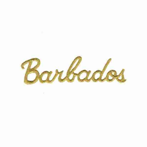 Metallic Gold Thread Barbados Iron on Applique