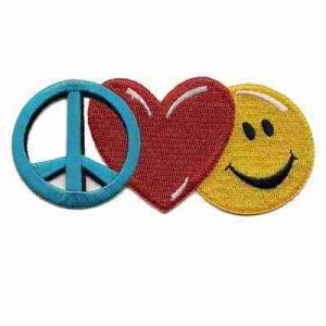 Peace Sign, Heart and Smiley Face - Large Patch Applique