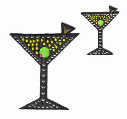 Spirits - Studded LARGE Black Martini Glass Iron On Patch Appliq
