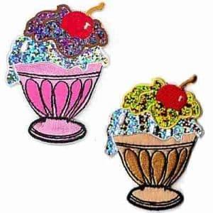 Desserts - Shimmer Ice Cream Sundae Iron On Applique