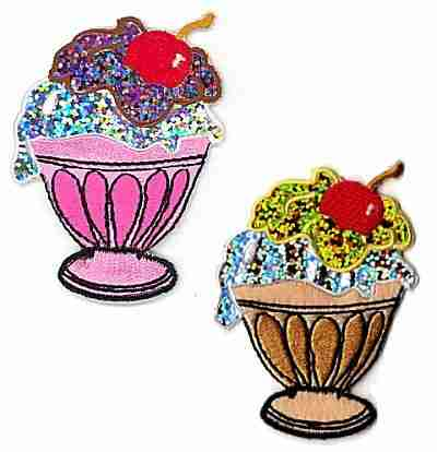 Desserts - Shimmer Ice Cream Sundae Iron On Applique