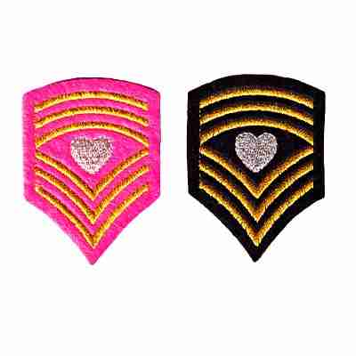 Sergeant Heart Chevron patch available in Pink or Black (pink looks brighter here than in person).