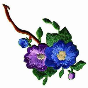 Blue & Purple Pansies on Branch Iron On Patch Applique