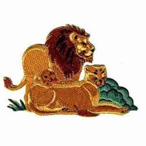 Lion and Family Iron On Jungle Patch Applique