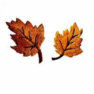 Yellow Embroidered Fall Leaves Iron On Patch Applique