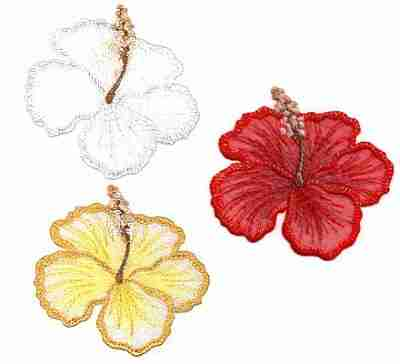 Large Shimmering Hibiscus Flower -Red, White or Gold- Iron On A