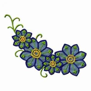 Blue Chiffon Daisy Cluster Vine Iron On Floral Applique