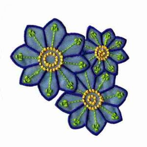 Blue Chiffon Triple Daisies Iron On Floral Applique