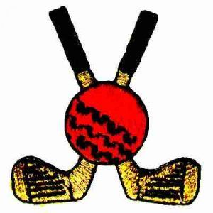 Golf - Crossed Golf Clubs with Red Ball Iron On Patch Applique