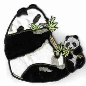 Panda Bear with Baby Iron on Patch Applique