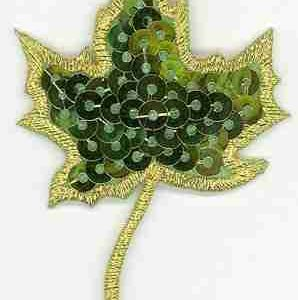 Sequin Green Maple Leaf