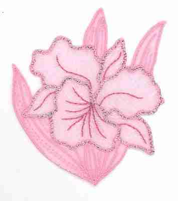 Iridescent Flower in PINK Iron on Patch