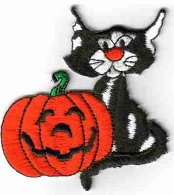Halloween - Black Cat with Carved Pumpkin Patch Applique