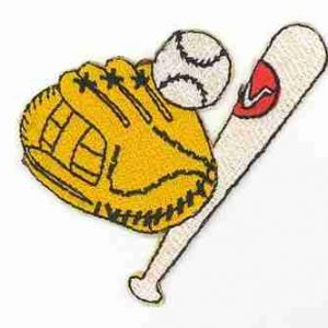 Baseball - Glove, Ball and Bat Gear Iron On Sports Patch