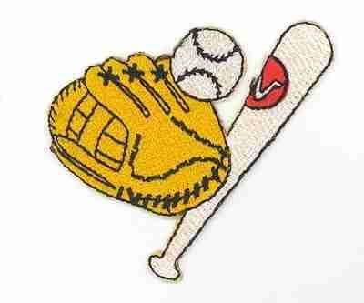 Baseball - Glove, Ball and Bat Gear Iron On Sports Patch