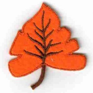 Orange Felt Fall Leaf Iron On Patch Applique
