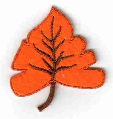 Orange Felt Fall Leaf Iron On Patch Applique