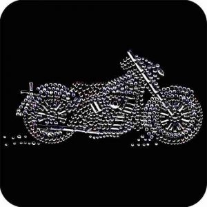 Motorcycles - Silver/Grey Motorcycle Iron On Rhinestone Biker Ap
