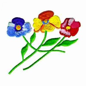 Trio of Multi-Colored Pansies Iron On Floral Appliques