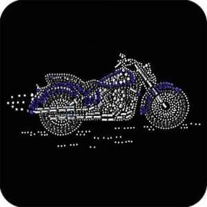 Motorcycles - Silver, Blue, Black Motorcycle Rhinestone Biker Pa